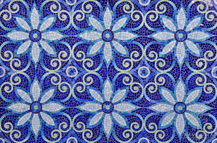 Natasha, a jewel glass mosaic is shown in Iolite, Lapis Lazuli, Blue Spinel, Covellite, and Feldspar.