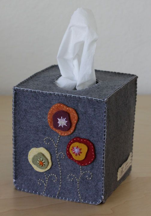 Nikkie's Felt Poppy Tissue Box Cover by NikkiesNeedlework on Etsy, $34.00