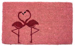 Flamingos Hand Woven Coconut Fiber Doormat - Tropical - Doormats - by IUC International LLC