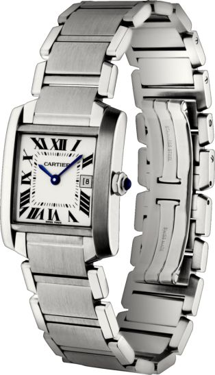 classic, elegant, simple lines, timeless, cartier -- Tank Française watch Medium model, steel