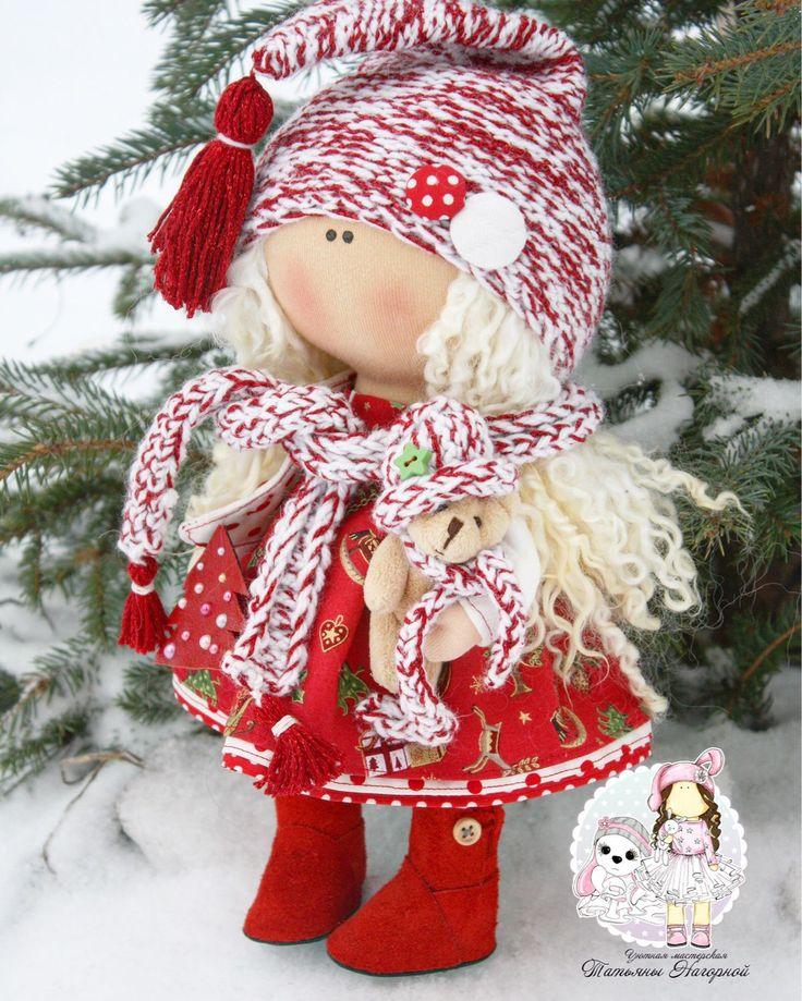 Купить Новогодняя гномочка - кукла ручной работы, кукла, кукла в подарок, кукла интерьерная