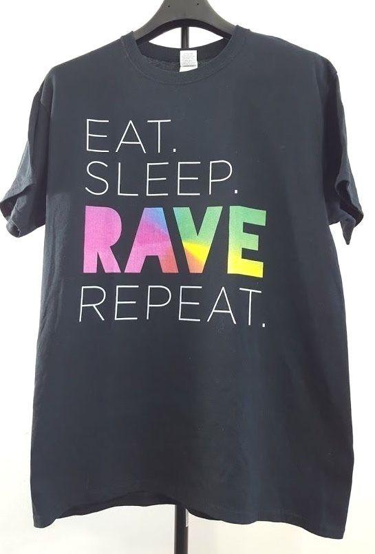 Eat Sleep Rave Repeat T-shirt Black Size L Dance Club Party Rage Music EDM Raver #Gildan #GraphicTee