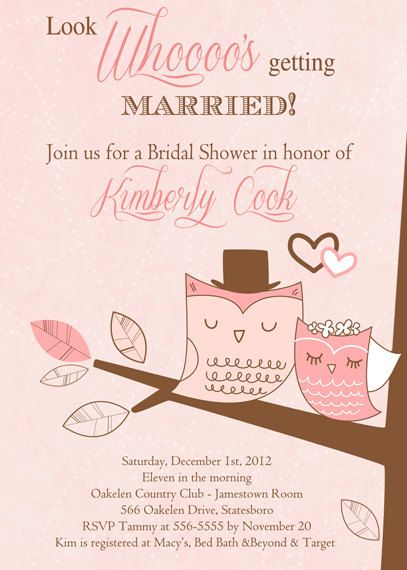 Owl Couple Bridal Shower Invitation or Save the Date Card - Printable on Etsy, $17.00
