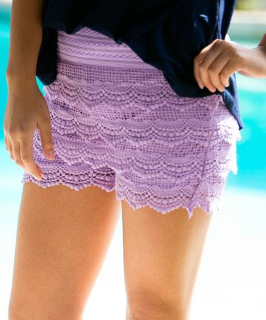 Loving this Lavender Lace-Tier Shorts on #zulily! #zulilyfinds