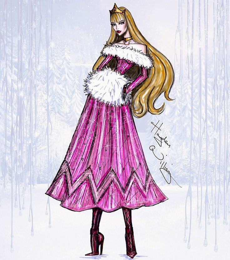 #Hayden Williams Fashion Illustrations #Disney Divas 'Holiday' collection by Hayden Williams: Aurora