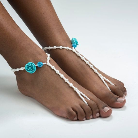 Something Blue Barefoot Sandals Bridal Jewelry Wedding Foot Jewelry Anklet Beach Wedding