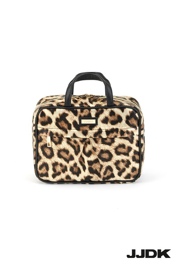 Bellaflorina I JJDK Premium Large Cosmetic bag, Leopard pattern, with 6 elastic pockets, roomy #cosmeticbag