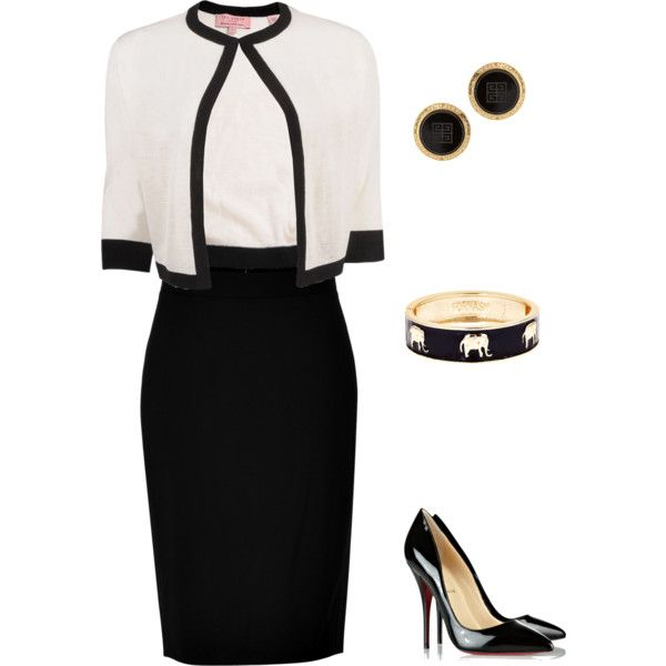 Black & White by lesliegates on Polyvore featuring Ted Baker, DKNY, Christian Louboutin, Fornash and Susan Caplan Vintage