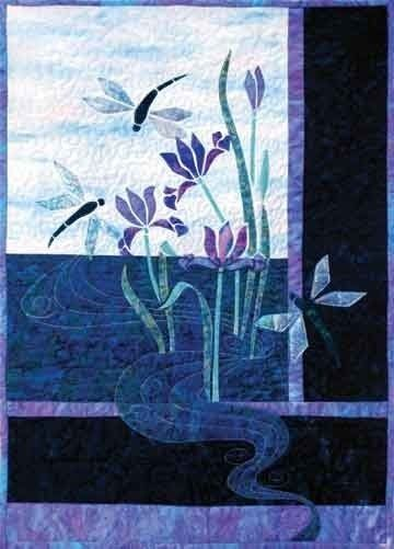 dragonfly and iris applique quilt by storybook quilts