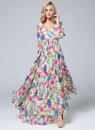 Chiffon Floral Long Sleeve Maxi Vintage Dresses (1019040) @ floryday.com