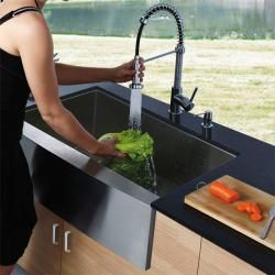 Vigo Farmhouse Stainless Steel Kitchen Sink, Chrome Faucet and Dispenser - Overstock™ Shopping - Great Deals on Vigo Kitchen Sinks