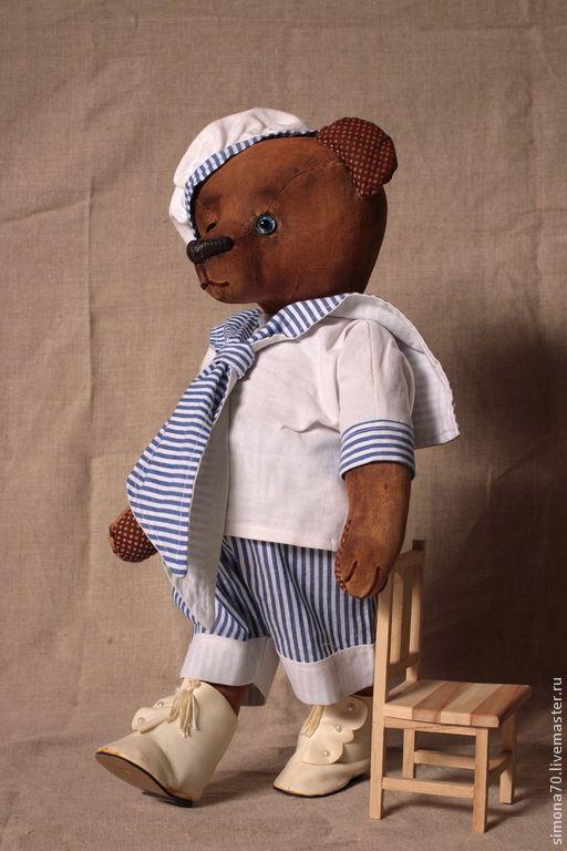 """Купить Моряк"""" Андрюшка"""" - коричневый, мишка ручной работы, винтаж, антик…"""