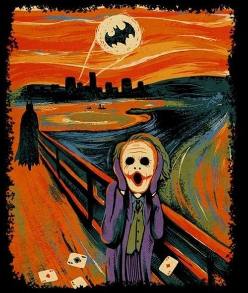 evil scream: Why So Serious, Pop Culture, The Scream, Jokers Batman, Art Jokes, Vans Gogh, The Jokers, Dark Knights, Edvard Munch