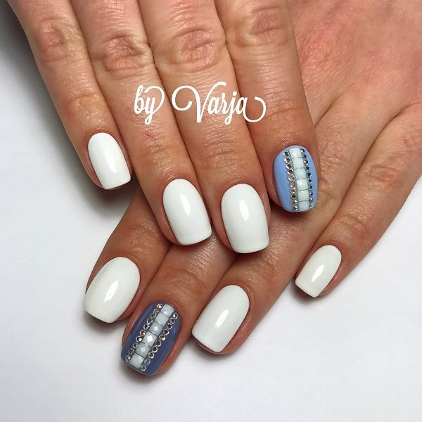 White Tip Nail Designs With Rhinestones Hireability