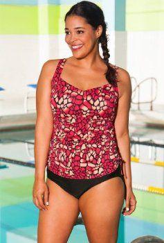 Aquabelle Mojave Plus Size Side Shirred Tankini Women's Swimwear