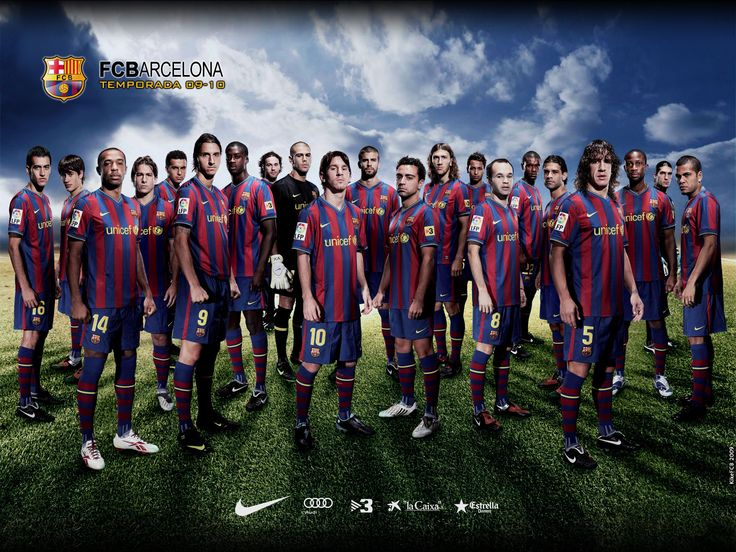 FC Barcelona Team Players And Football HD Wallpaper