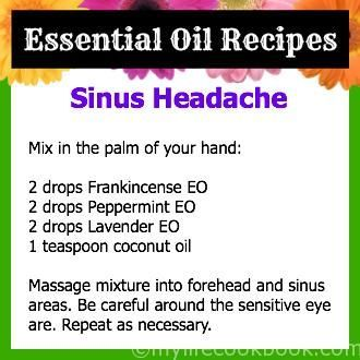 Perfect recipe for sinus headaches...I keep this blend in a roller bottle on my desk and apply throughout the day. The peppermint scent perks me up too. (scheduled via http://www.tailwindapp.com?utm_source=pinterest&utm_medium=twpin&utm_content=post379755&utm_campaign=scheduler_attribution):