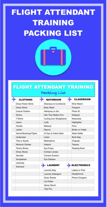 Prepare for flight attendant training with this printable how-to packing checklist. Download the PDF. Printable