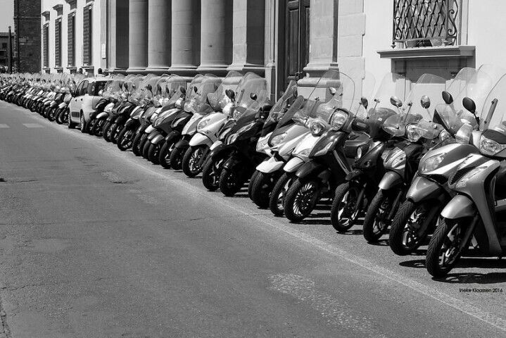 Moped Parking in Florence, Tuscany, Italy, by Ineke Klaassen on Flickr.com.