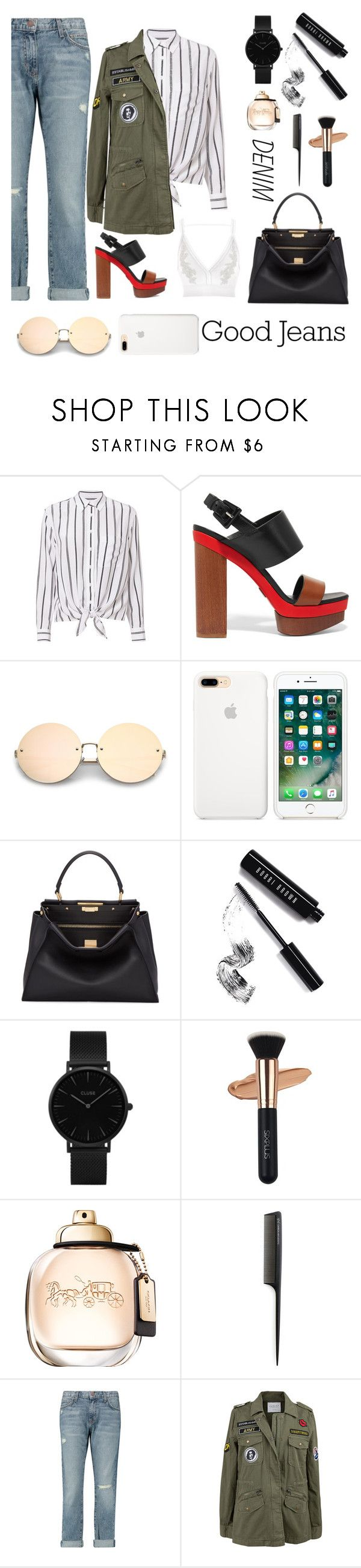 """""""Good jeans"""" by bartivana ❤ liked on Polyvore featuring Equipment, Michael Kors, Fendi, Bobbi Brown Cosmetics, CLUSE, GHD, Current/Elliott, Velvet by Graham & Spencer and River Island"""