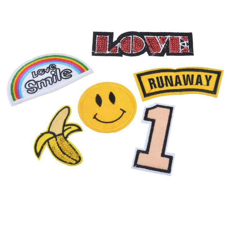 FUNIQUE Mixed 6Pcs Cartoon Sequins Appliques On Clothes Badges For Clothing Backpack Dress  Iron-on Patches Sew On Embroidery