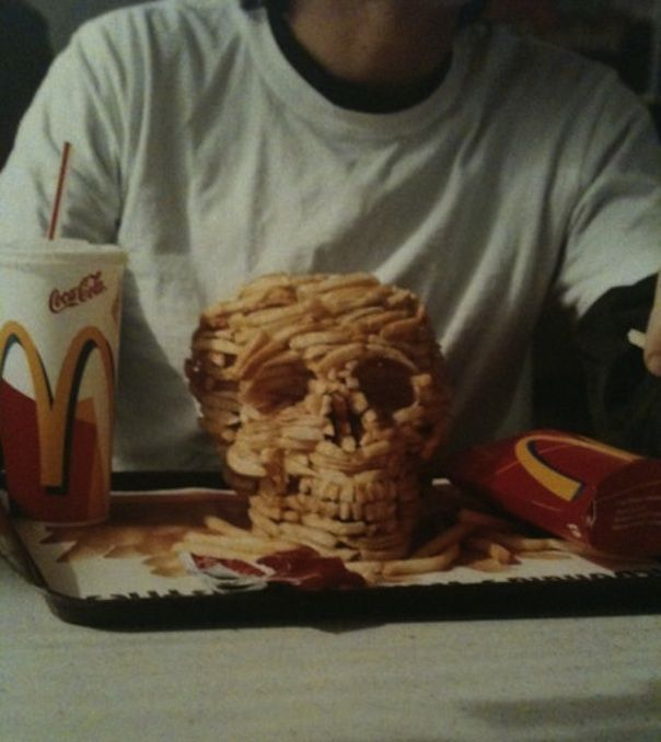 skull made of fries