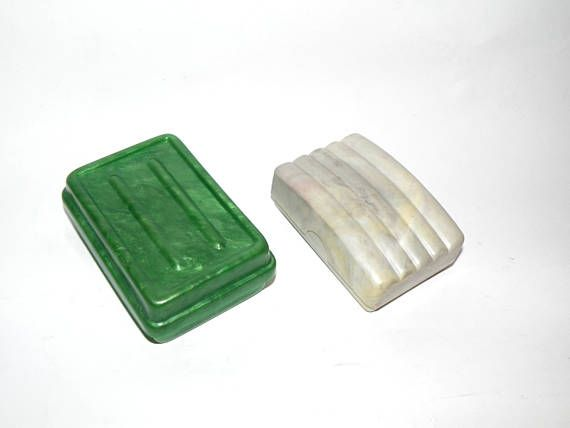 Vintage soap box. Soviet plastic soap boxes. Green or grey