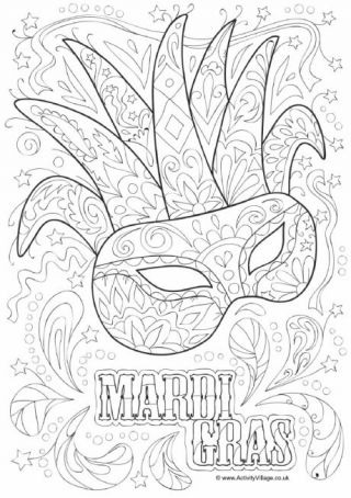 Mardi Gras masks and beads to printout and color at Activity Village
