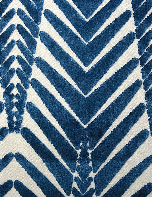 Zebra Velvet Fabric Zebra design velvet in blue woven on a cream cloth