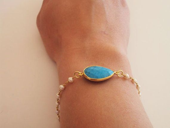 Turquoise Bracelet Turquoise Gemstone Delicate by VasiaAccessories