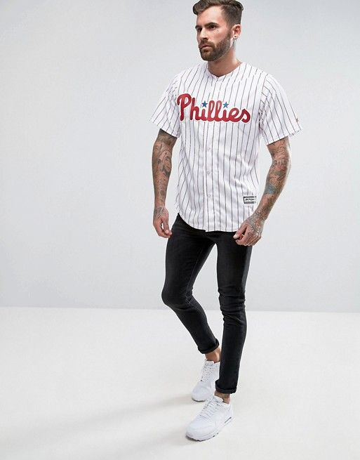 Majestic - MLB Philadelphia - Chemise en jersey style maillot de baseball avec inscription Phillies