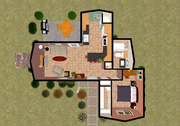 The 3D top view of the 624 sq ft Galley Haven. | Cozys 600