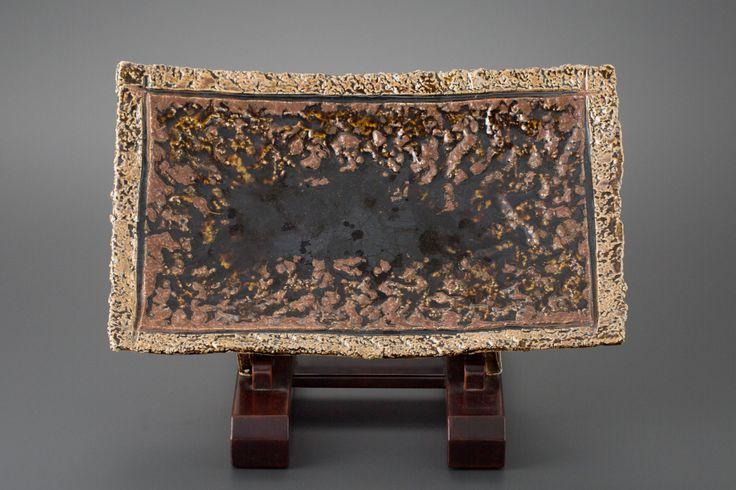 飴釉俎板皿 Chopping board plate, amber glaze 2011