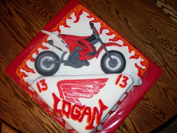 dirt bike cakes motocross | Honda Dirt Bike Cake — Birthday Cakes