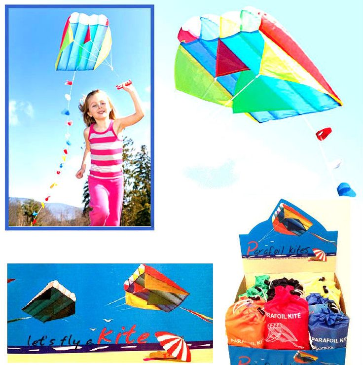 Parafoil Kite In Bag 60 cm x 51 cm Outdoor Sport Easy Fly Colourful 15ft Tail