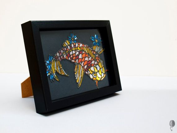 Japanese Koi Fish Illuminated drawing Framed by TheBrainMixer