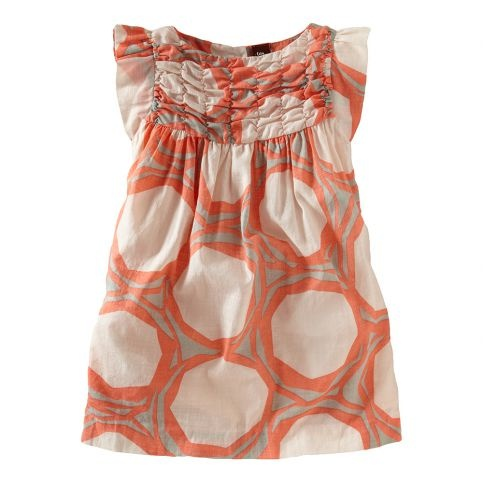 Bold, woodblock printing brings graphic appeal to this versatile spring party dress. Fashioned in lightweight, airy cotton slub voile.