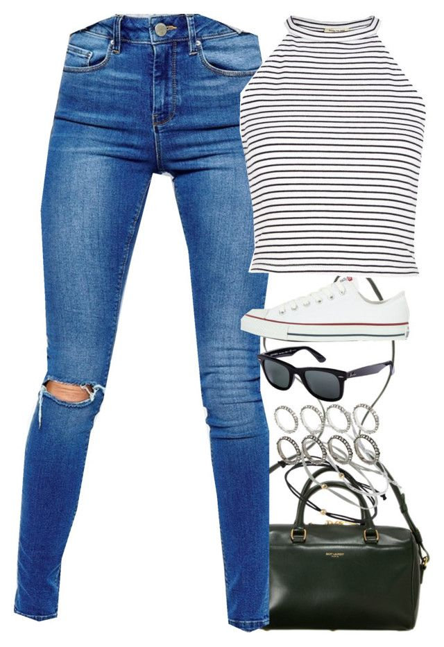 """Untitled #2198"" by hiitsbre ❤ liked on Polyvore featuring Yves Saint Laurent, Topshop, ASOS, Converse, Ray-Ban and River Island"