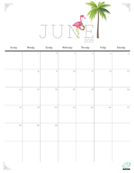 Download iMOM's Free June 2015 printable calendar. Our June design kicks off summer. Celebrate with a limbo and a luau.