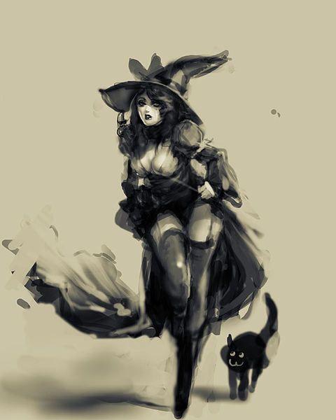 Aquarelle sorcière