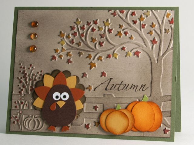 handmde greeting card: Gobble Gobble by AbbysGrammy - luv the coloring and inking of the Autumn scene embossing folder design ... luv how the punch art pumpkins are sponged to bring out more depth ... great punch art turkey from the two step owl punch ... Stampin' Up!