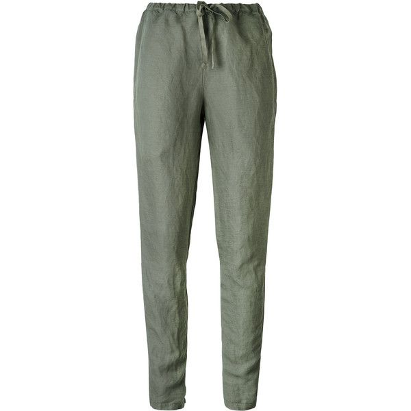 Kristensen Du Nord drawstring trousers ($413) ❤ liked on Polyvore featuring pants, green, kristensen du nord, green trousers, drawstring trousers, drawstring pants and green pants