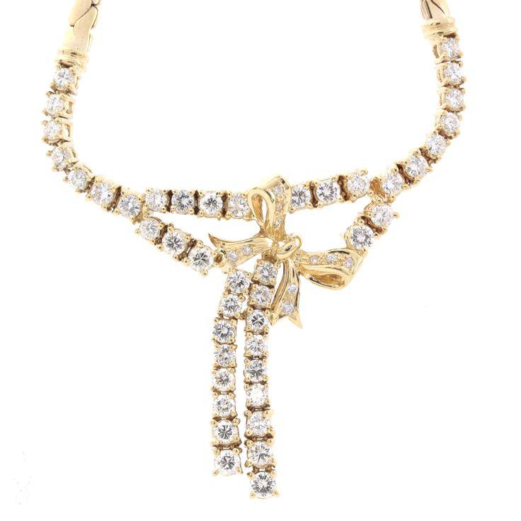 【商品名】 K18 ゴールド ダイヤ ネックレス リボンモチーフ【価格】¥148,000【状態】A  多少の傷・汚れが見受けられますが全体的には綺麗な状態の中古商品です。