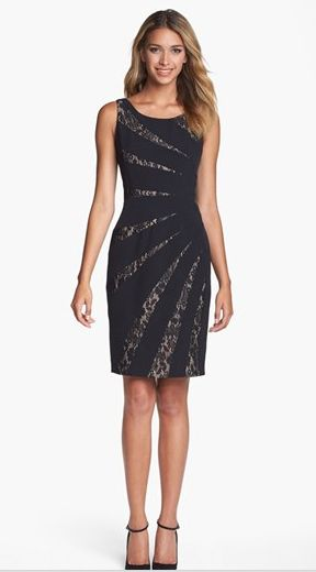 Adrianna Papell Lace Inset Wedding Guest Dress