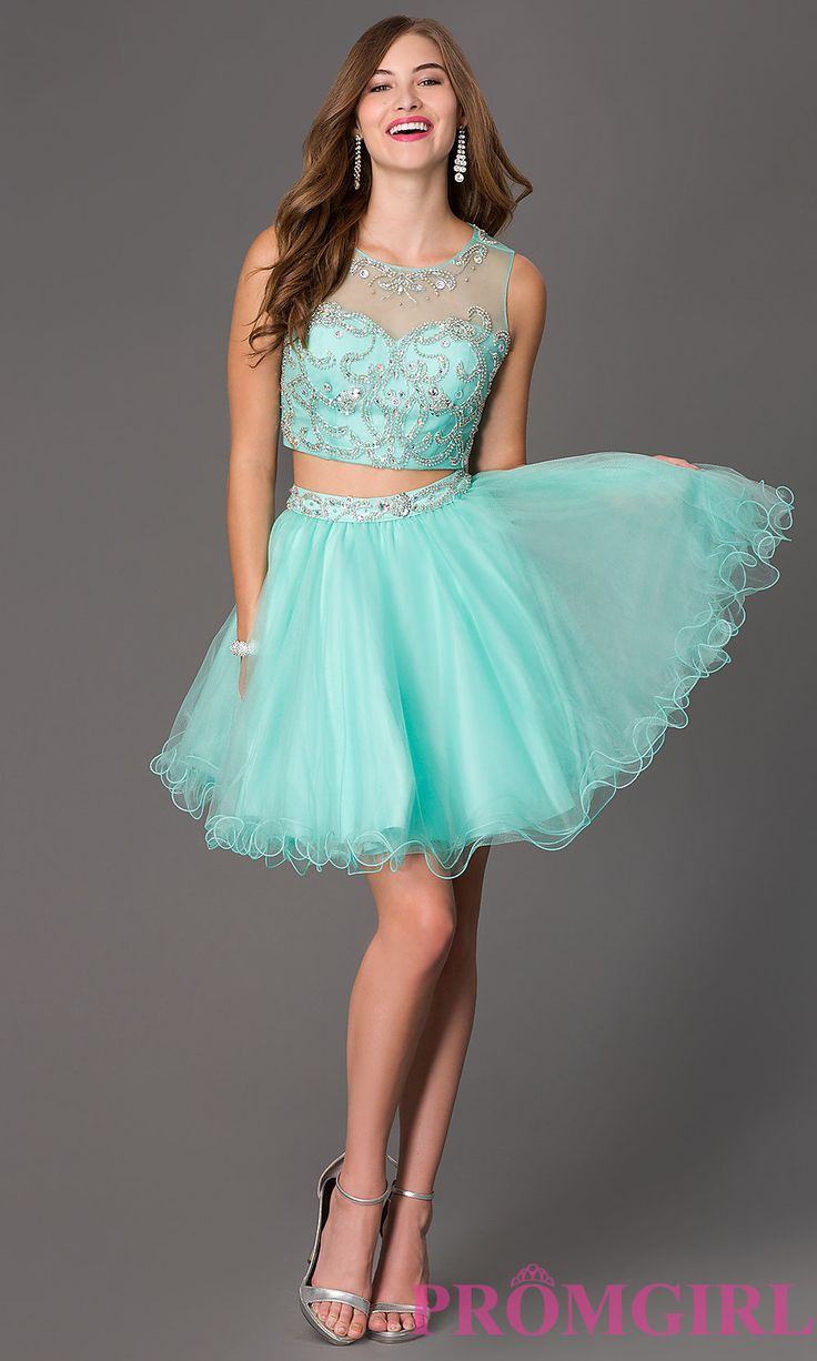 Prom Dresses, Celebrity Dresses, Sexy Evening Gowns: Short Two Piece Dress with Jewel Embellished Sheer Bodice