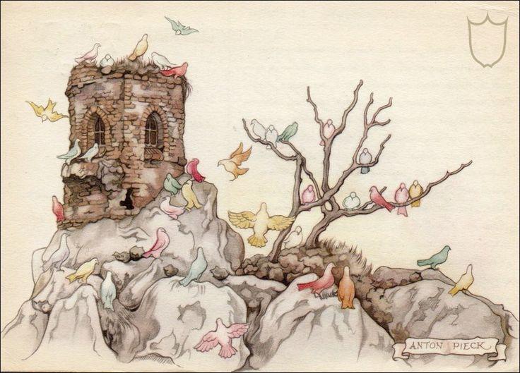 Efteling: gekleurde duiven werken aan Genoveva's bruidsjurk