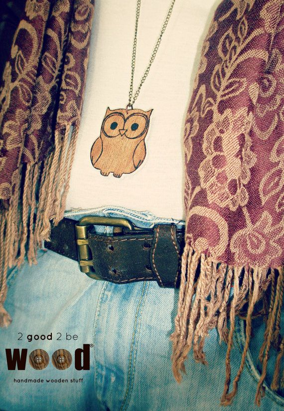 Handmade Wooden Pyrography Owl Necklace