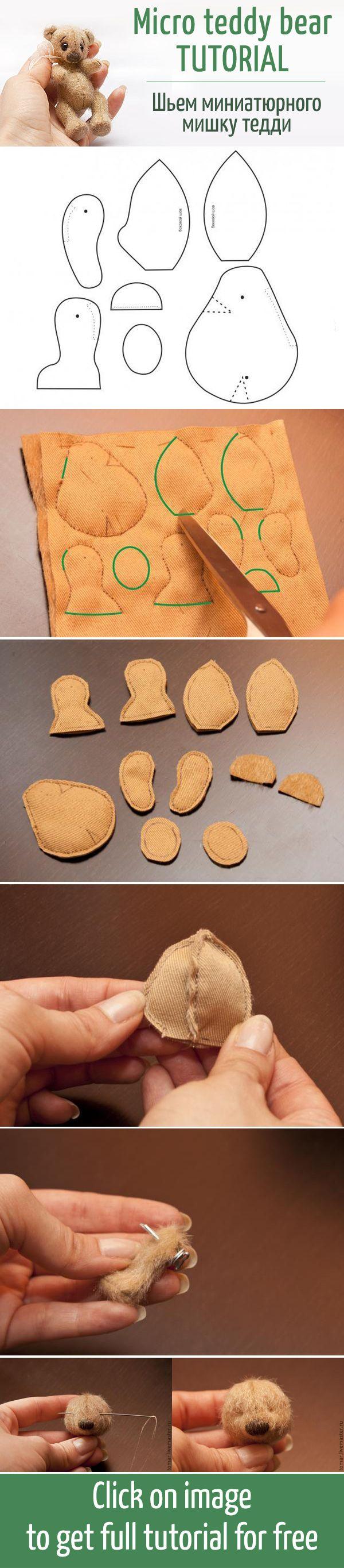 Секреты и правила создания миниатюрного мишки тедди: выкройка + процесс / Micro…