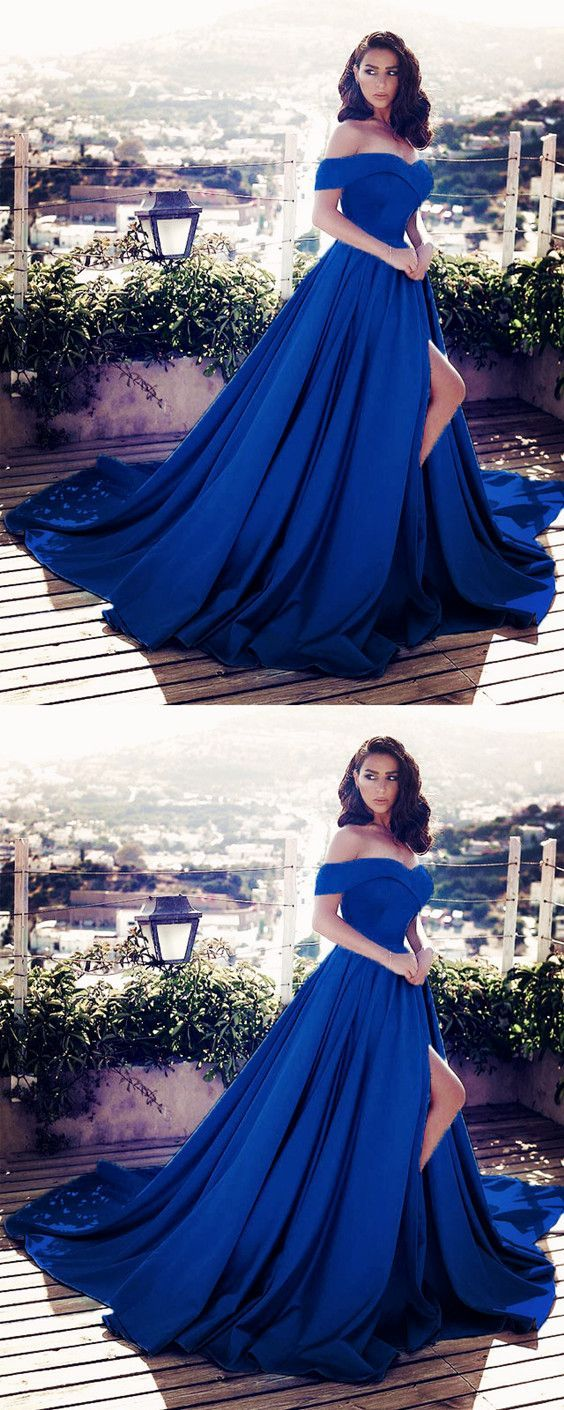 Charming Navy Blue Satin V-neck Off Shoulder Prom Dresses Long Evening Gowns With Front Split #longpromdresses