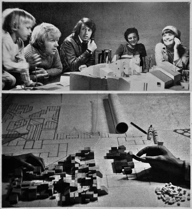 "Tinggården @ MoMA | Century of the Child: ""Future residents of Tinggården, Herfølge, Denmark, taking part in the democratic process of planning."" Cc. 1973 (top) and 1971 (bottom)."